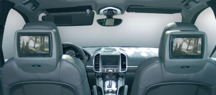 LCD schermen achter in de auto